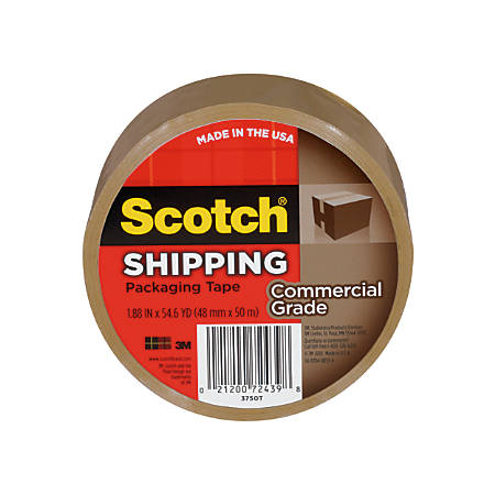 "Scotch® Commercial Grade Packing Tape, 1 7/8"" x 54.6 Yd., Tan, Pack Of 6"
