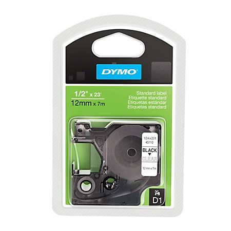"DYMO® 45110 Black-On-Clear Tape, 0.5"" x 13'"