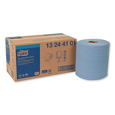 """Tork Industrial 4-Ply Paper Wipers, 15-3/4"""" x 11"""", Blue, 375 Wipers Per Roll, Pack Of 2 Rolls"""