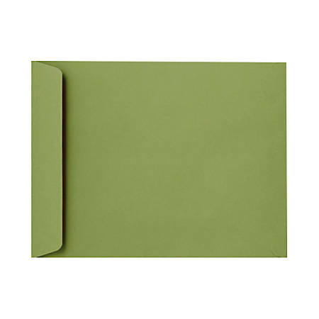 "LUX Open-End Envelopes With Peel & Press Closure, #9 1/2, 9"" x 12"", Avocado Green, Pack Of 50"