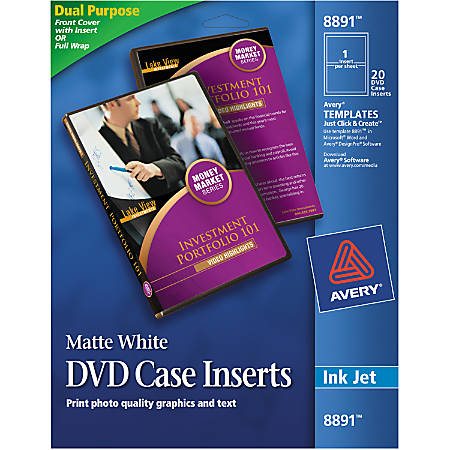 "Avery® Print-To-The-Edge Inkjet DVD Case Inserts, 8891, 4 1/2"" Diameter, White, Pack Of 20"