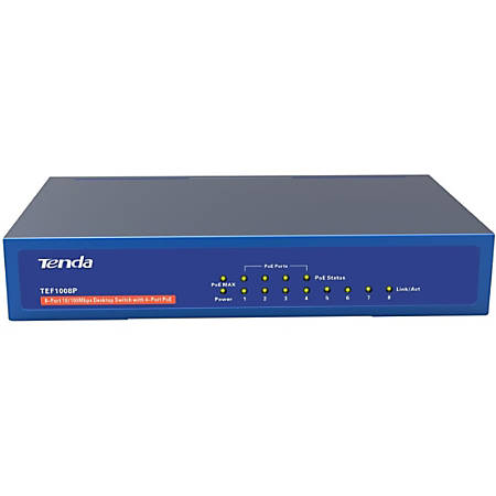 Tenda TEF1008P 8-Port Gigabit 10/100/1000 Mbps Desktop Unmanaged Switch With 4-Port PoE