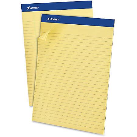 "Ampad Basic Slot-perforated Pads - 50 Sheets - Stapled - 0.34"" Ruled - 20 lb Basis Weight - 8 1/2"" x 11 3/4"" - Yellow Paper - Canary Cover - Environmentally Friendly, Perforated, Chipboard Backing - 12 / Dozen"