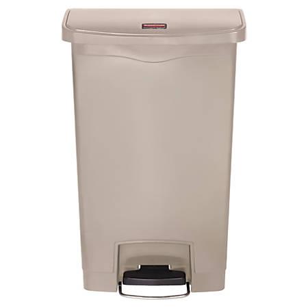 Rubbermaid® Slim Jim Step-On Resin Front Step Wastebasket, 13 Gallons, Beige