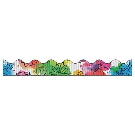 "Bordette Designs Decorative Border - Watercolor Flowers Design - 2.25"" x 25' - 1 Roll/Pkg"