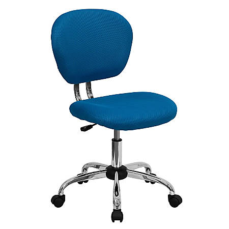Flash Furniture Mesh Mid-Back Swivel Task Chair, Turquoise/Silver