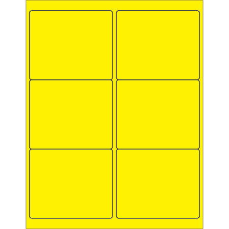 "Office Depot® Brand Labels, LL180YE, Rectangle, 4"" x 3 3/8"", Fluorescent Yellow Case Of 600"