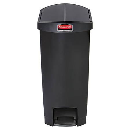 Rubbermaid® Slim Jim Step-On Resin End Step Wastebasket, 13 Gallons, Black