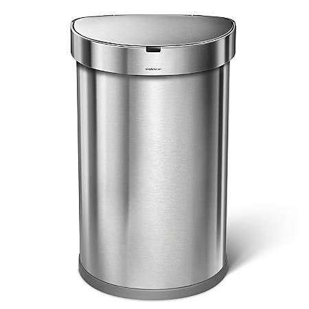 simplehuman Semiround Sensor Trash Can, Stainless Steel, With Liner Pocket, 12 Gallons, Brushed Stainless Steel