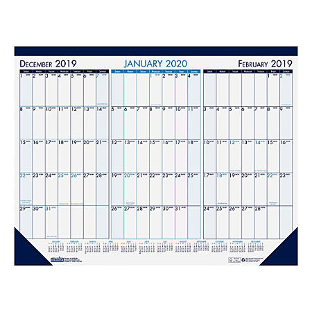 """House of Doolittle 3-Month View Desk Pad Calendar, 22"""" x 17"""", January To December 2020, HOD1"""