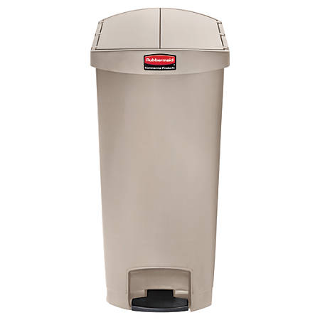Rubbermaid® Slim Jim Step-On Resin End Step Wastebasket, 18 Gallons, Beige
