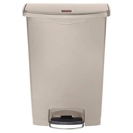 Rubbermaid® Slim Jim Step-On Resin Front Step Wastebasket, 24 Gallons, Beige