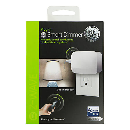 GE Z-Wave Plus Single Outlet Plug-In Smart Dimmer, White, 28167