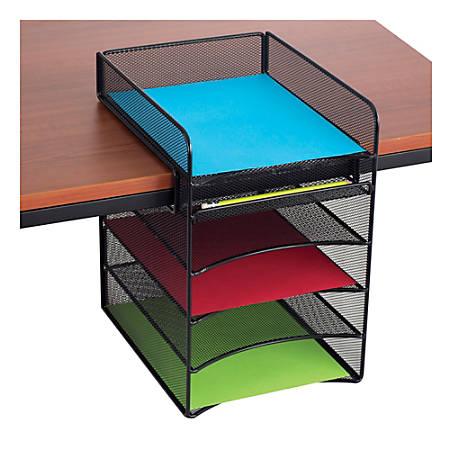 Safco® Onyx™ Mesh Hanging Organizer, 5-Section Horizontal, Black