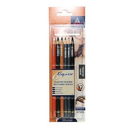 Conte Pencil Set, Drawing, Assorted Colors, Set Of 6 Pencils