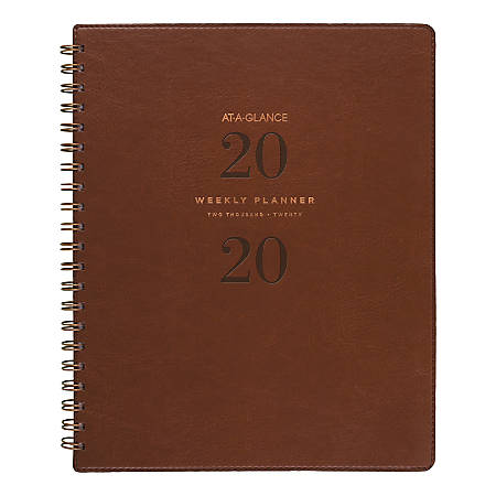 """AT-A-GLANCE® Signature Collection 13-Month Weekly/Monthly Planner, 8-1/2"""" x 11"""", Distressed Brown, January 2020 to January 2021"""