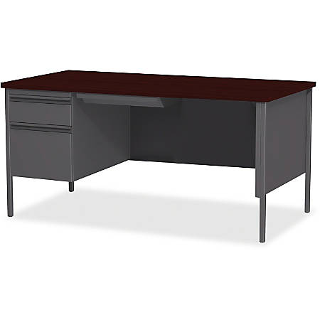 """Lorell® Fortress Series Steel Pedestal Desk, 66""""W, Left-Handed, Charcoal/Mahogany"""