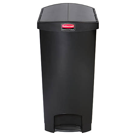 Rubbermaid® Slim Jim Step-On Resin End Step Wastebasket, 24 Gallons, Black
