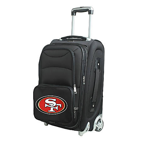 """Denco Nylon Expandable Upright Rolling Carry-On Luggage, 21""""H x 13""""W x 9""""D, San Francisco 49ers, Black"""