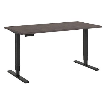 "Bush Business Furniture Move 80 Series 60""W x 30""D Height Adjustable Standing Desk, Cocoa/Black Base, Premium Installation"