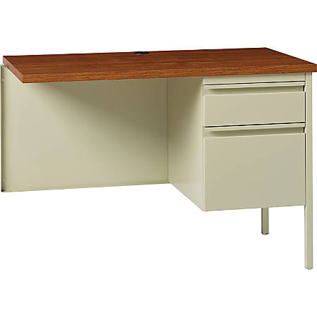 "Lorell® Fortress Series 42""W Steel Pedestal Return Desk, Right, Putty/Oak"
