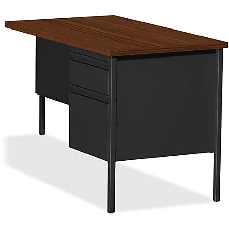 "Lorell® Fortress Series 42""W Steel Pedestal Return Desk, Right, Black/Walnut"