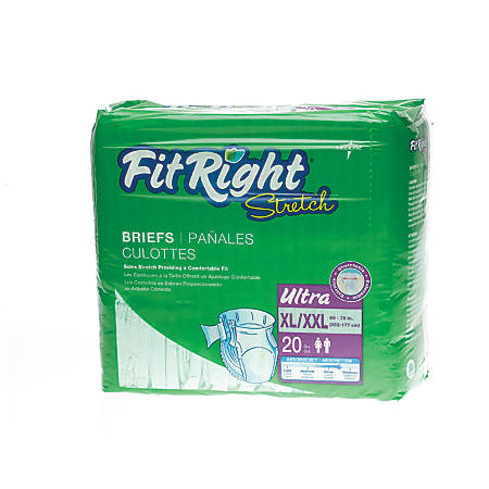 FitRight Stretch Ultra Briefs, X-Large/XX-Large, Green, Case Of 80 Briefs