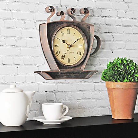 """FirsTime® Coffee Cup Wall Clock, 9"""", Oil-Rubbed Bronze"""