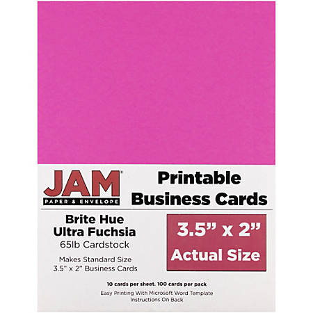 "JAM Paper® Printable Business Cards, 3 1/2"" x 2"", Fuchsia, 10 Cards Per Sheet, Pack Of 10 Sheets"