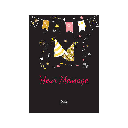 Flat Photo Greeting Card, Birthday Caps And Bunting, Vertical