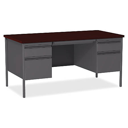 "Lorell® Fortress Series 60""W Steel Double Pedestal Desk, Charcoal/Mahogany"