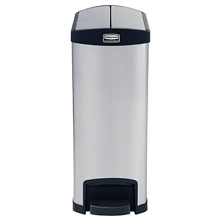 Rubbermaid® Slim Jim Step-On Stainless Steel End Step Container, 13 Gallons, Black