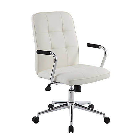Boss Modern Mid-Back Task Chair, White/Chrome/Black