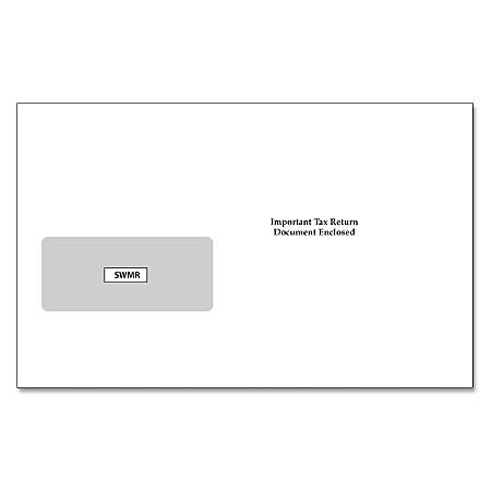 "ComplyRight™ Single-Window Envelopes For Standard IRS 2-Up 1099 Formats, 5 5/8"" x 9"", White, Pack Of 100 Envelopes"