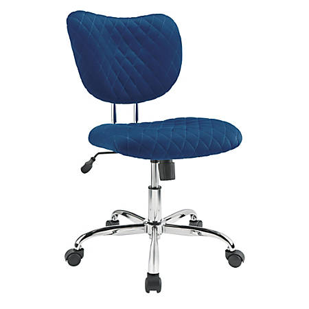 Brenton Studio® Quilted Jancy Mesh Low-Back Task Chair, Navy/Chrome