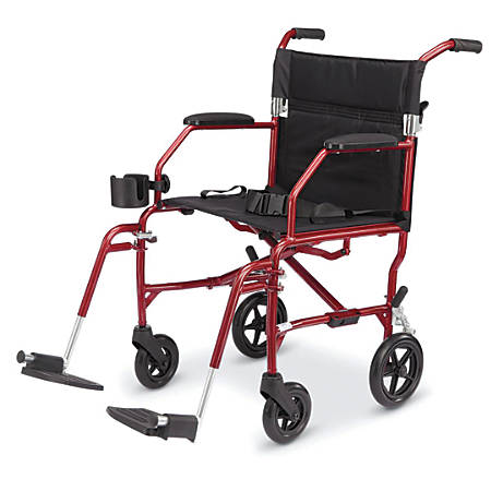 Medline Ultralight Transport Chair, Burgundy