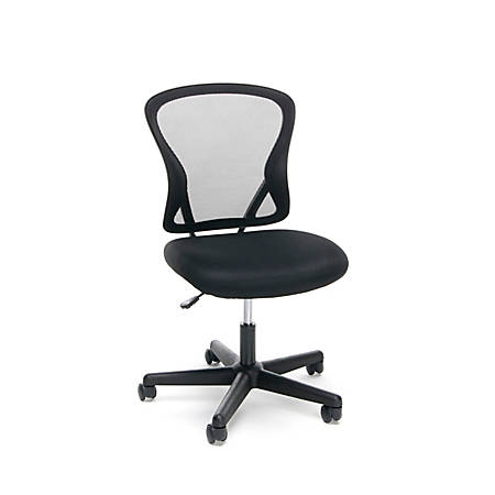 OFM Essentials Mid-Back Chair, Mesh, Black/Silver