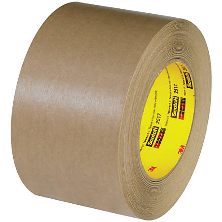 "3M™ 2517 Flatback Tape, 3"" Core, 3"" x 60 Yd., Kraft, Case Of 12"