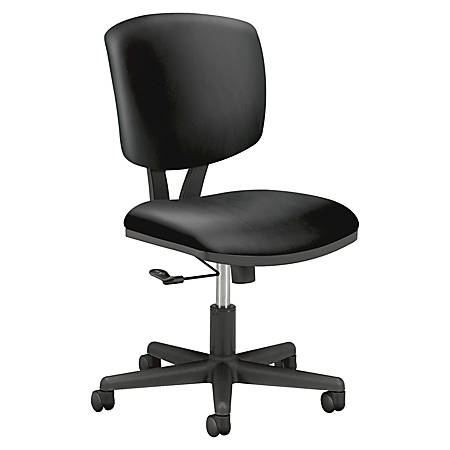 HON® Volt 5701 SofThread™ Tilt Leather Mid-Back Task Chair, Black