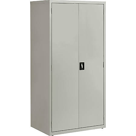 "Lorell® Fortress Series 24""D Steel Storage Cabinet, Fully Assembled, 5-Shelf, Light Gray"