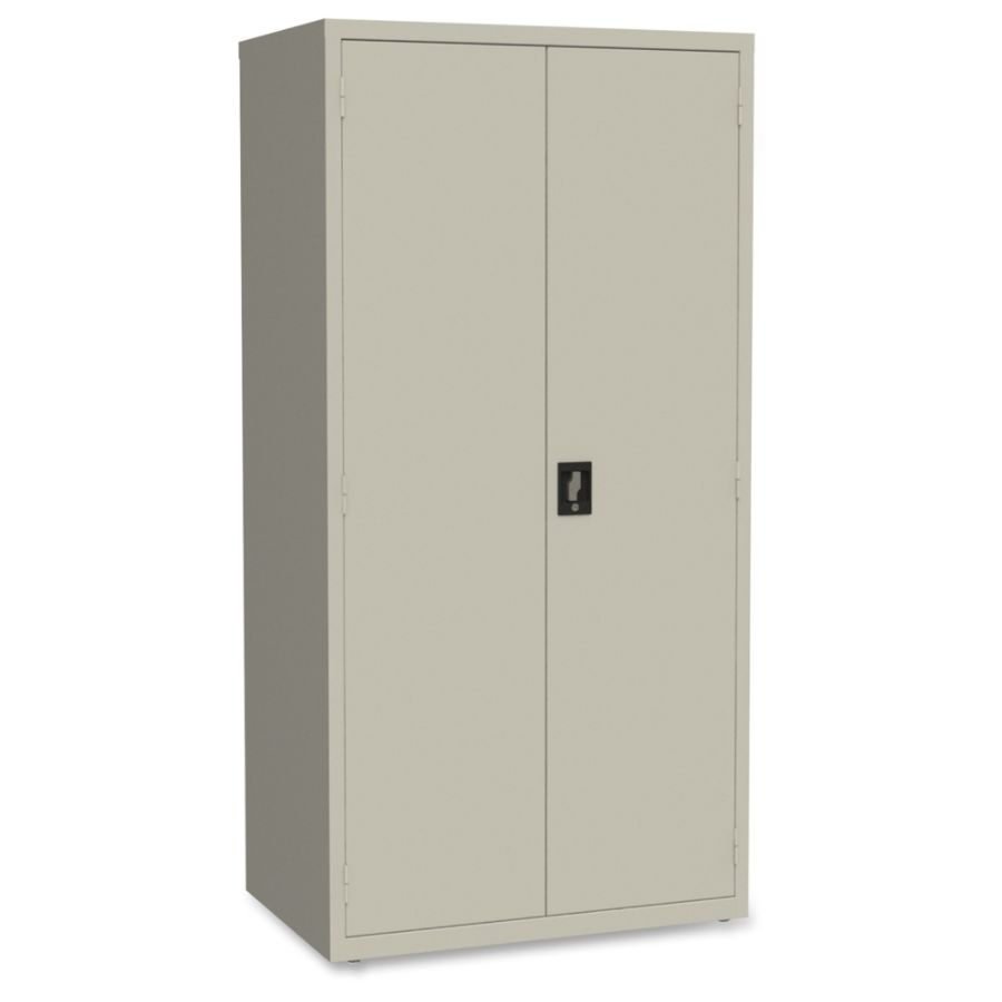 Lorell Storage Cabinet 24 X 36 X 72 5 X Shelfves Hinged Doors Sturdy  Recessed Locking Handle Removable Lock Durable Storage Space Light Gray  Powder Coated ...
