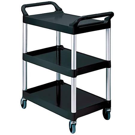 "Rubbermaid® 3-Shelf Utility Cart, 37 3/4""H x 33 5/8""W x 18 5/8""D, Black"