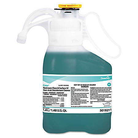 Diversey™ Crew® Concentrated Restroom Floor And Surface Nonacid Disinfectant Cleaner, Fresh Scent, 47.34 Oz, Carton Of 2 Disinfectant Cleaners
