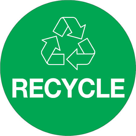 """Tape Logic® Recycle Circle Labels, DL1310, 3"""", Green, Roll Of 500"""