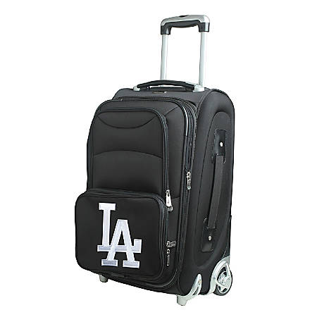 "Denco Nylon Expandable Upright Rolling Carry-On Luggage, 21""H x 13""W x 9""D, Los Angeles Dodgers, Black"