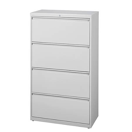 "WorkPro® 30""W 4-Drawer Steel Lateral File Cabinet, Light Gray"