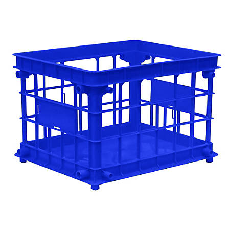 "Office Depot® Brand Filing/Stacking Crate, 10 3/4""H x 13 4/5""W x 16 4/5""D, Blue"