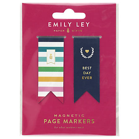 "Emily Ley Simplified® System Magnetic Page Markers, 1/2"" x 1 1/2"", Multicolor, Pack Of 2 Markers"