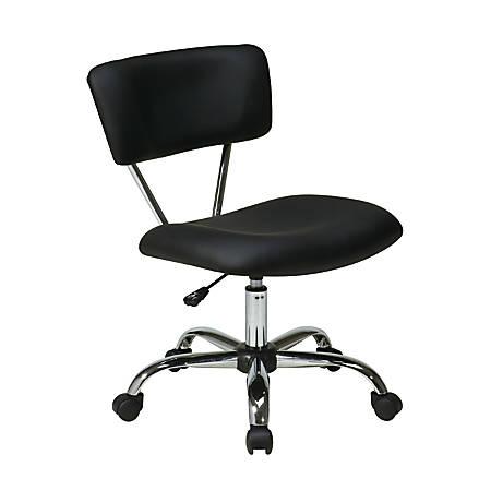 Office Star™ Avenue Six Vista Task Chair, Vinyl, Black/Silver