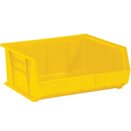"Office Depot® Brand Plastic Stack And Hang Bin Boxes, 14 3/4"" x 16 1/2"" x 7"", Yellow, Pack Of 6"